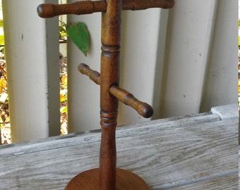 Vintage Wood Mug Tree Rack