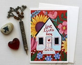 Love Lives Here - Happy Home - 5x7 Art Card with Envelope