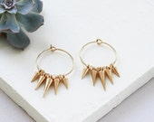 Ramon Earrings, Punk Rock Earrings, Hoop Earrings, Spike Earrings, Spike Hoops, Spike Hoop Earrings, Spikes, Small Hoops, Small Hoop Earring