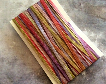 4 meters of Hand Dyed Silk Ribbon for Embroidery and Needlecraft