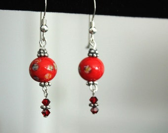 Party Dress, Too, Red Lamp work dangle earrings