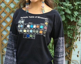 Periodic Table of Minecraft Tribal Print Bell Sleeve Tee Eco Friendly Upcycled Womens Gamer Geek Nerd Tshirt Tee Top Shirt Size large