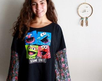 Sesame Street Elmo Grover Cookie Monster Cartoon Floral Print Bell Sleeves Off The Shoulder Tee Top Shirt T-shirt Size 2XL