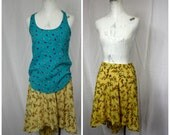 Flirty Yellow Summer Floral Skirt with Hi-Low Hem | Art Re-Worked Retro Vintage Clothing Upcycle | Womens XS | 26 Waist