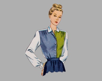 1948 Blouse pattern Simplicity 1538, Size 12, Bust 30 in., 4 different Styles Long Sleeve, Short Sleeve, Cap Sleeve, Cut and Complete