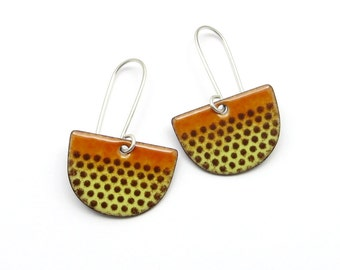 Brown Enamel Dangle Earrings - Amber Colored Half Circle Earrings with Polka Dots
