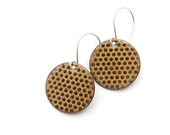 Brown Enamel Earrings - Chocolate Brown Polka Dot Earrings - Round Dangle Earrings - Modern Enamel Jewelry