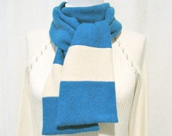 Teal Cashmere Scarf Neck Warmer Cowl Handmade from Recycled Felted Cashmere Wool Sweaters (No821)