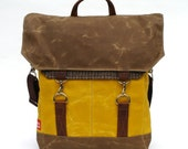 Waxed Canvas Messenger Bag / Tweed Recycled Wool with Oiled Leather