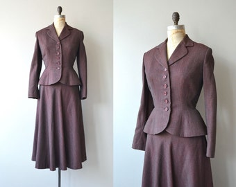 Stenotype gabardine suit | vintage 1940s suit | fitted wool 40s suit