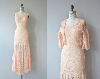 Fairyfloss dress and jacket | vintage 1930s lace dress and jacket | pink lace 30s dress