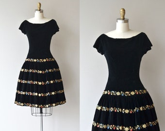 Winter Garland dress | vintage 1950s dress | velvet 50s party dress