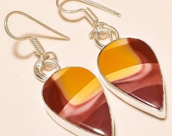 Designer Mookaite Jasper Petal-Shaped Earrings in Sterling Silver for Wealth and Success