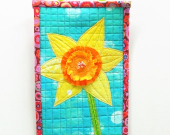 Jonquil quilt- mini quilt- Spring- appliqued, hand embroidered, daffodil on yellow and orange on blue, ready to ship, ships free to USA
