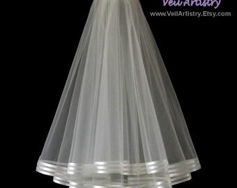 Short Bridal Veil, Radiance Veil, Waist or Shoulder Veil, Ivory Veil, 2-Tier Veil, Stripe Ribbon Edge Veil, Made-to-Order Veil, Bespoke Veil