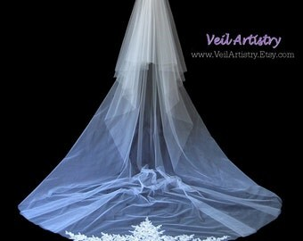 Bridal Veil, Radiance Veil, Cathedral Veil, 2 Tier Wedding Veil, Lace Trimmed Veil, Lace Applique Veil, Made-To-Order Veil, Handmade Veil