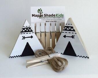 Teepee Art Display Clips, Adventure Nursery, monochrome, Aztec Kids,  Archery, Wood Teepee, Black and White, Picture line, Art Display