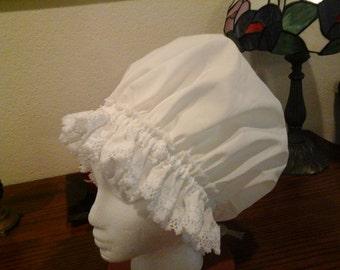 Fancy Shower Cap,  Giant Size White Cotton Lace Trim Fits EX Lg. Lg. Free Shipping