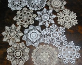 "lot of 12 Hand Crochet 7"" RD Doily for Cottage/Victorian/Shabby/Boho/French Style,Tea Party, Vintage Wedding"
