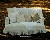 """Shabby Chic 12"""" x 12"""" TWO Ruffled Muslin Pillow Covers-Your Choice of My Designs"""