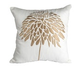 Peony Throw Pillow Cover,  Decorative Pillow Cover, Cream Linen Pillow Case Tan Peony Embroidery,Couch Pillow, Accent Pillow, Cushion Cover