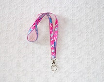 Beachy Floral Lilly Pulitzer Pop Pop Fabric Lanyard
