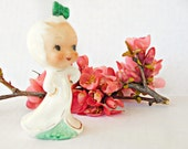 Vintage Little Girl figurine in White and Green Dress , Big Head Big Eye adorable Collectible Japan Export Look like Cindy Lou you know Who!