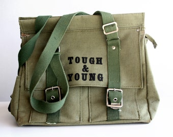 Vintage Army Green Distressed Canvas Tough and Young Messanger Shoulder Bag