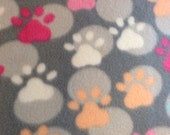 RaToob, Light Gray Polka Dots and Pastel Pink Peach Blue and White Paw Prints on Gray