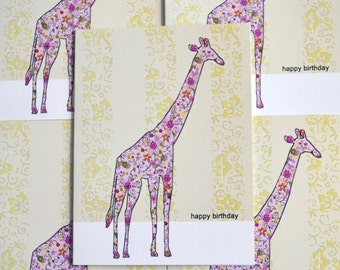 Birthday Giraffe, Birthday Card, Greeting Card, Floral Pattern