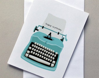 Birthday Card, Vintage Type Writer, Blue. For Him, For Her, New Stockist Special Free Shipping Starter Pack