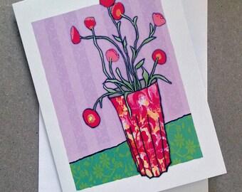 Flowers, Blank card, Greeting card, Vase
