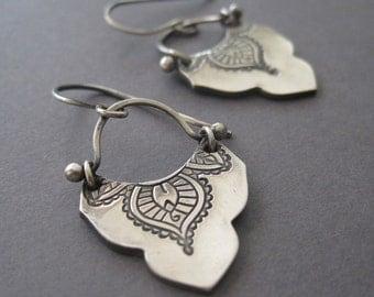 Mehndi Earrings, Exotic Silver Earrings, Handmade Fine Silver Earrings, Yoga Jewelry