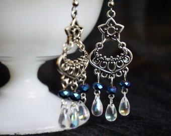 Beautiful chandelier earrings - clear and blue/purple beads