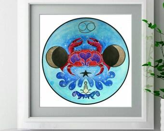 Cancer the Crab - Hex Sign Art - Lunar Decor - Cancer Zodiac Painting - Crab Decor - Moon Child Art - Astrology Art Print - Metaphysical Art