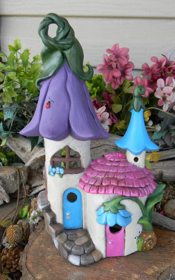 Fairy House Castle Ceramic Lily Flower Roof Gnome Dream