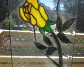 Stained Glass Yellow Rose Plaque