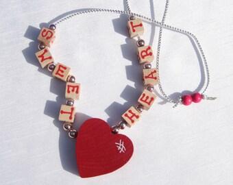 Valentine Heart Jewelry Valentine Heart Necklace Sweetheart Necklace Wooden Heart Necklace Valentine Necklace Valentine Jewelry