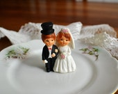 Vintage Wedding Cake Topper- Mini- Bride & Groom Vintage Wedding-Vintage Cake Topper-Vintage Wedding Decor- Gift Package Decor