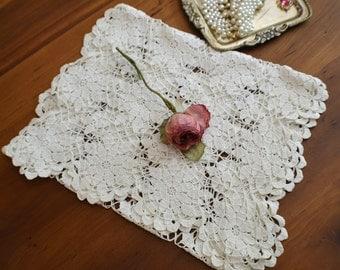 Vintage Hand Crocheted Dresser Scarf/Table Runner-Elegant
