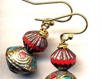SALE Nepalese Earrings, Tibet Earrings, Coral Turquoise Earrings, Nepal Beads on 18K gold filled wire, Nepal Jewelry by AnnaArt72