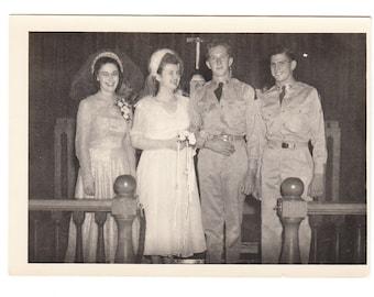 vintage photo Young Love Military Man Teen Bride 1940s snapshot Wedding