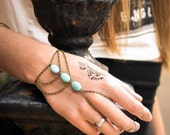 CLEARANCE SALE Hand Chain Bracelet Hand Bracelet Piece Ring Hipster Bronze Chain Bohemian Boho Three Turquoise Beads Triangle Chevron Hand J