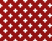"Pair of Red Swiss Cross Curtain Panels - Lipstick Red and White - Home Decor -  25"" or 50""  wide - You choose length"