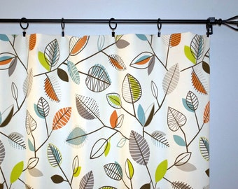 Curtains Fiesta Leaves, Pair of Panels Carson Fiesta Covington, Yellow White Blue Choose size