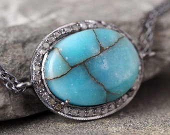Turquoise and Raw Diamond Necklace - Sterling Silver - Halo Pendant - Rustic Jewellery -  Gemstone Necklace - Boho Chic