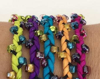 DIY Wrap Silk Bracelet or Cord Kit You Make Five Adult Friendship Bracelets in Neon Carnival Palette