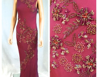 Vintage Mauve Pink Beaded Evening Dress. X-Small. Small. Demetrios. Maxi Dress. Formal. Floral Beading. Open Back. Fancy. Gown. Wedding.