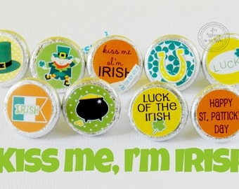 88 St. Patrick's Day Hershey Kiss Tags / St. Patrick's Day Candy / Hershey Kisses / Party Favor / Shamrock Chocolate /