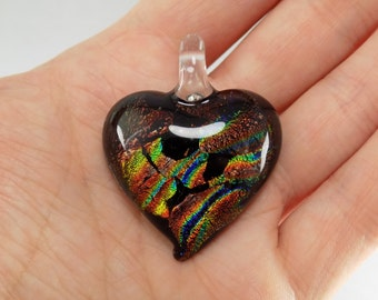 Dichroic Glass Heart Pendant - 43mm - Black/Orange/Yellow/Green